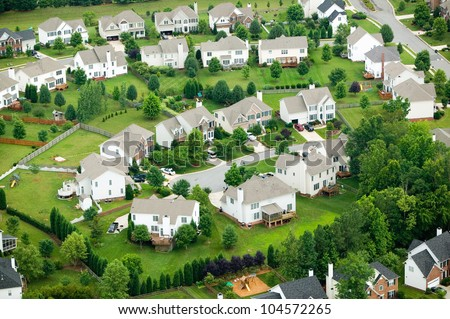 Aerial view of housing development in North Carolina - stock photo