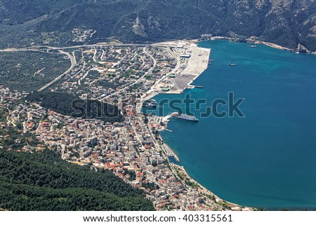Aerial view of Igoumenitsa city and port, Thesprotia, Greece