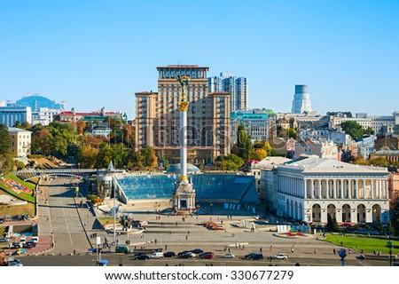Aerial view of Independence Square (Maidan Nezalezhnosti) in Kiev, Ukraine - stock photo