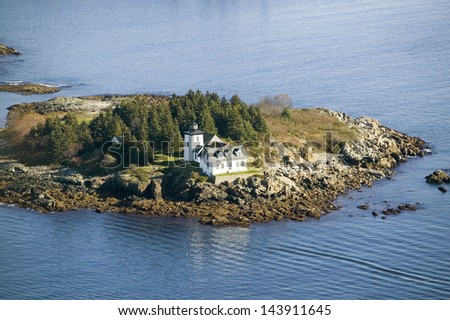 Aerial view of Indian Island Lighthouse in Rockport, Maine - stock photo