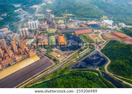 Aerial view of industrial factory, Thailand - stock photo