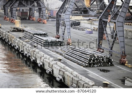 Aerial view of industrial port - stock photo
