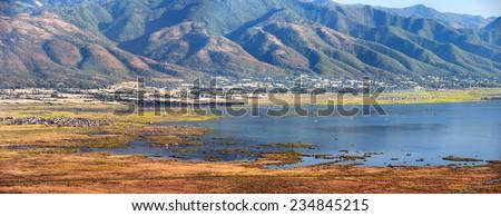 Aerial view of Inle Lake in Myanmar  - stock photo