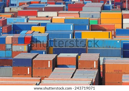Aerial view of intermodal containers at cargo port - stock photo