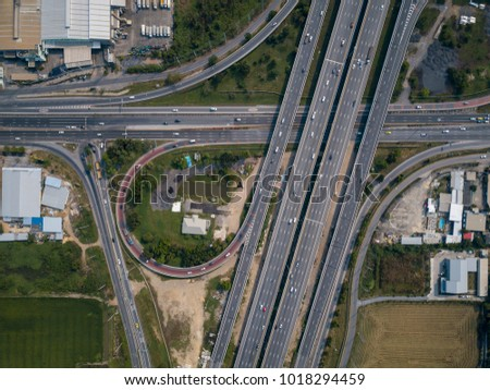 Aerial view of intersecting highways