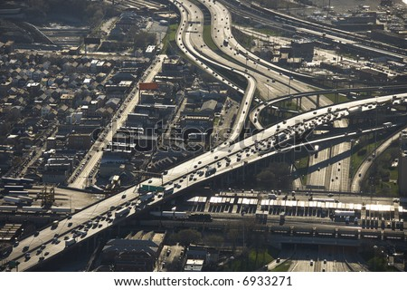 Aerial view of Interstate 90 and 94 crossing Interstate 55 in Chicago, Illinois. - stock photo