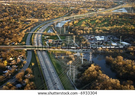Aerial view of interstate and railroad in Chicago, Illinois. - stock photo