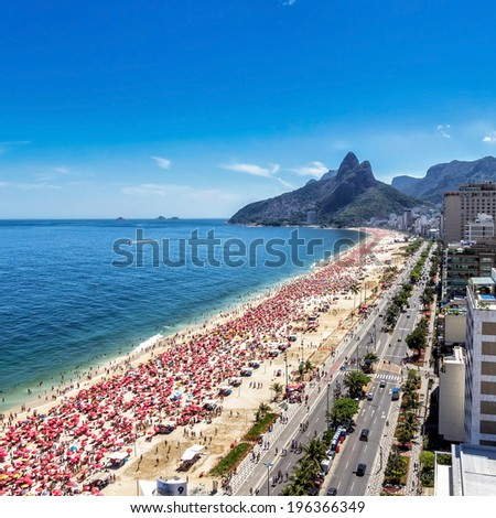 Aerial view of Ipanema Beach in Rio de Janeiro, Brazil - stock photo