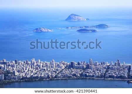Aerial view of Ipanema district and Cagarras Islands in Rio de Janeiro, Brazil. - stock photo