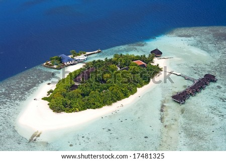 Aerial view of island, Maldives - stock photo