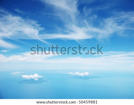 aerial view of islands in Thailand - stock photo