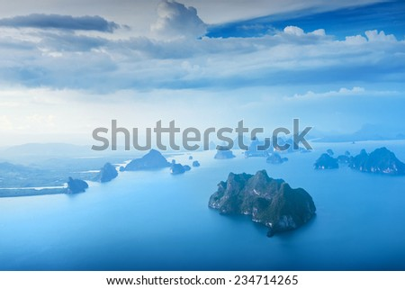 Aerial view of  islands near Phuket, Thailand - stock photo