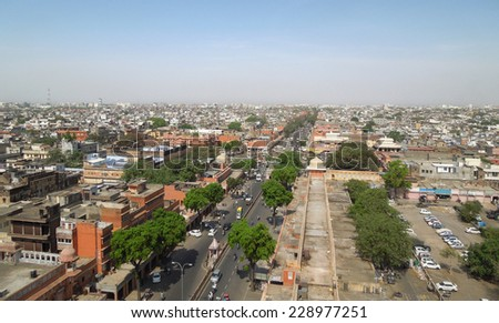 aerial view of Jaipur, a city in Rajasthan (India) - stock photo