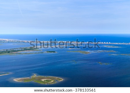 Aerial view of Jamaica Bay on approach to New York City - stock photo