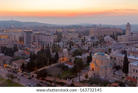 Aerial View of Jerusalem before Sunrise, Israel - stock photo