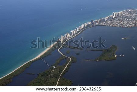 Aerial view of John D MacArthur State Park in North Palm Beach, Florida - stock photo