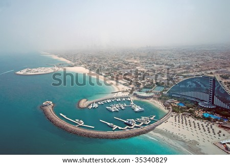 Aerial View of Jumeirah Beach Hotel - stock photo