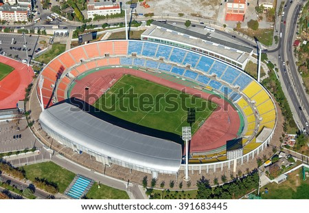 Aerial view of Kaftatzoglio stadium, Thessaloniki, Greece