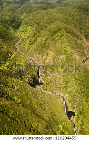Aerial view of Kahiwa falls of Molokai island, Hawaii - stock photo