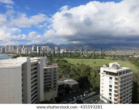 Aerial view of Kapiolani Park, Waikiki, Honolulu town area, and Pacific ocean on Oahu, Hawaii. March 2016. - stock photo