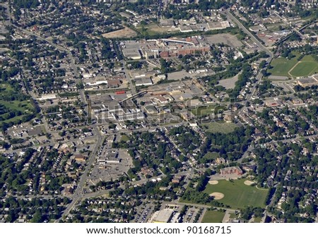 aerial view of Kaufman Park area in Kitchener-Waterloo, Ontario Canada
