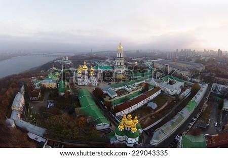 aerial view of Kiev-Pechersk Lavra - stock photo