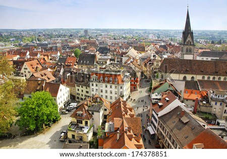 Aerial view of Konstanz city (Germany) and Town of Kreuzlingen (Switzerland) - stock photo