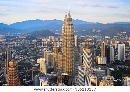 Aerial view of Kuala Lumpur Downtown at sunset. Malaysia - stock photo