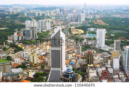 Aerial view of Kuala Lumpur from Kuala Lumpur Tower - stock photo