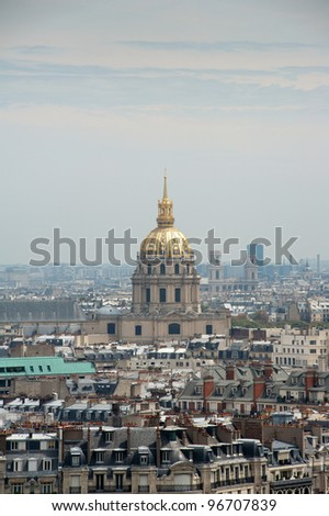 Aerial view of L'Hotel National des Invalides (The National Residence of the Invalids) in Paris, France. UNESCO World Heritage Site. Useful file about French Culture. - stock photo