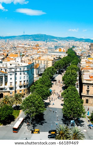 Aerial view of La Rambla of Barcelona, Spain - stock photo