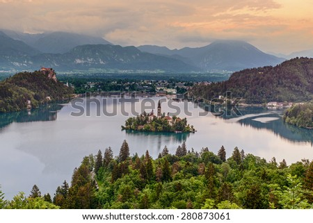 Aerial view of Lake Bled in Bled, Slovenia