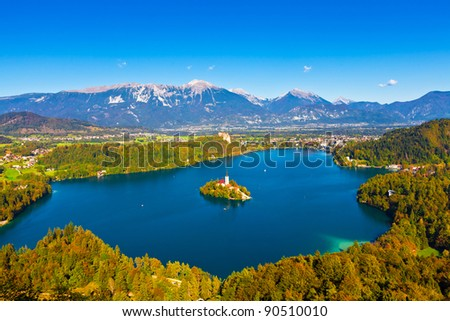 Aerial view of Lake Bled in Slovenia - stock photo