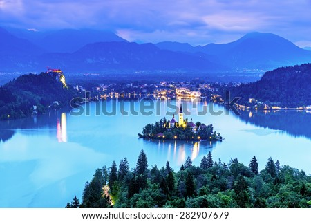 Aerial view of lake bled, Slovenia in the night - stock photo
