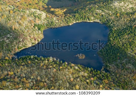 Aerial view of lake in autumn, Acadia National Park, Maine - stock photo