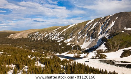 Aerial view of Lake Isabelle at Indian Peaks Wilderness, Colorado. - stock photo