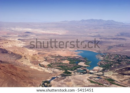 Aerial view of Lake Las Vegas - stock photo