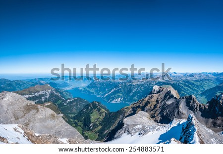Aerial view of Lake Lucerne (Vierwaldstattersee) from the mountain top - stock photo