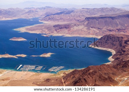 Aerial view of Lake Mead from above, USA, Nevada - stock photo