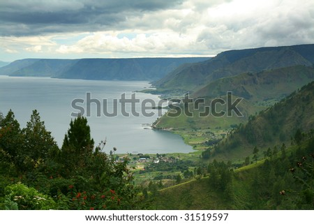 Aerial view of Lake Toba in North Sumatra, Indonesia. - stock photo