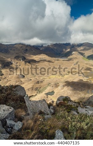 Aerial view of landscape of National Park Cajas, Ecuador - stock photo