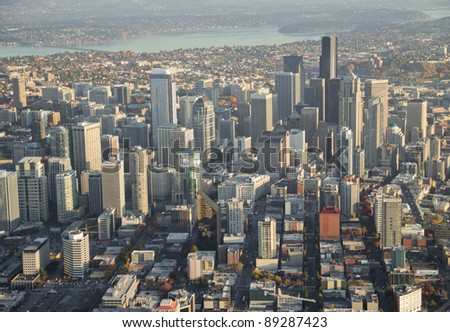 Aerial view of large downtown area in Seattle - stock photo