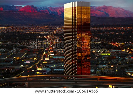 Aerial view of Las Vegas at Sunrise - stock photo