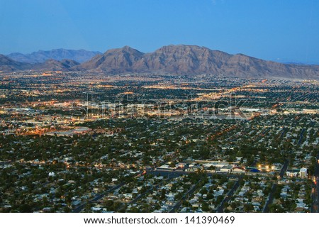 Aerial view of Las Vegas, Nevada, U.S.A. - stock photo