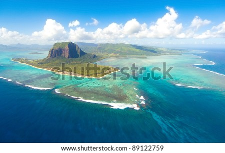 Aerial view of Le Morne Brabant mountain which  is in the World Heritage site of the UNESCO - stock photo