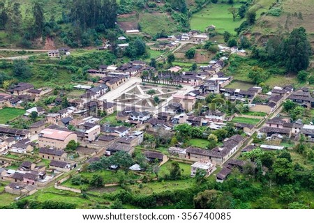 Aerial view of Leimebamba, Peru - stock photo