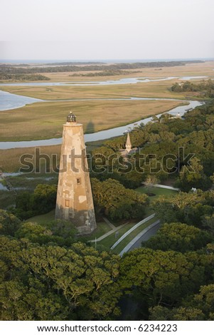 Aerial view of lighthouse on Bald Head Island, North Carolina. - stock photo