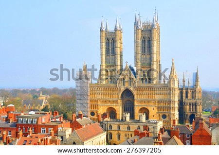 Aerial view of Lincoln Cathedral, a major tourist landmark and the third largest cathedral in Britain. - stock photo