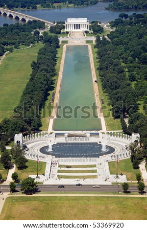 Aerial view of Lincoln memorial in Washington DC from Washington monument - stock photo