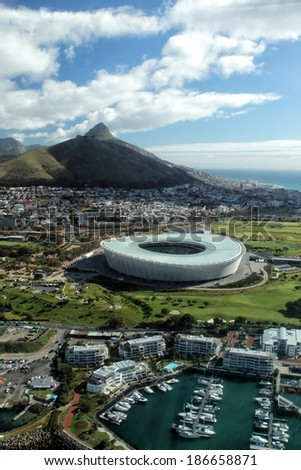 Aerial view of Lion's Head and the Soccer Stadium of Cape Town, South Africa. - stock photo